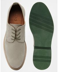 ALDO - Gray Suede Shoe with Contrast Sole for Men - Lyst