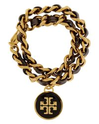 Tory Burch - Black Chain and Leather Bracelet - Lyst