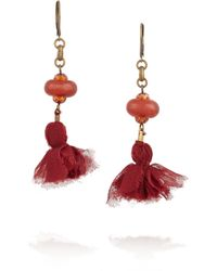 Isabel Marant Red Goldtone Agate and Tassel Earrings