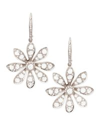 Maria Canale For Forevermark - Metallic 18k White Gold Round & Rose-cut Diamond Small Flower Drop Earrings - Lyst