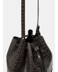 Violeta by Mango | Gray Croc-effect Bucket Bag | Lyst
