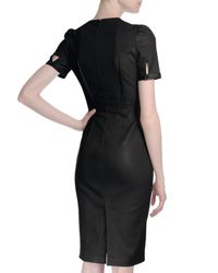 Givenchy - Black Short-sleeve Seamed Leather Dress - Lyst