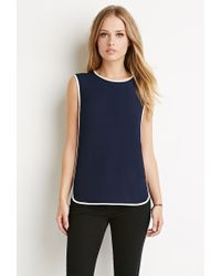 Forever 21   Blue Colorblocked Side Panel Top   Lyst