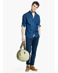 Mango Blue Slim-Fit Mosaic Print Chambray Shirt for men