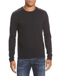 John Varvatos | Black Contrast Patch Crewneck Sweater for Men | Lyst