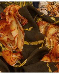 Swash London - Natural Khaki Menagerie Print Wool Scarf - Lyst