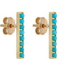 Jennifer Meyer - Blue Turquoise Long Bar Stud Earrings - Lyst