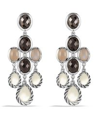 David Yurman - Metallic Grisaille Chandelier Earrings With Moon Quartz And Smoky Quartz - Lyst