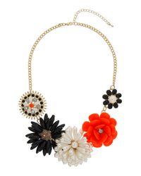 TOPSHOP - Womens Large Beaded Flower Collar Orange - Lyst