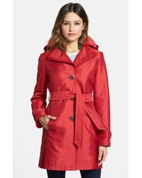 Ellen Tracy Red Hooded Single Breasted Sateen Trench Coat