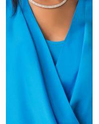Bebe - Blue Short Sleeve Wrap Top - Lyst