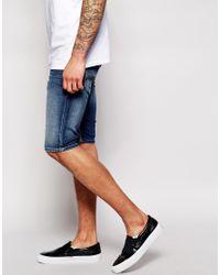 DIESEL Blue Denim Shorts Thashort 839H Slim Fit Dark Wash for men