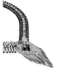 Iosselliani | Metallic Deco Cheetah Crystal Fringe Necklace | Lyst