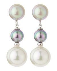 Majorica - White 3-pearl Linear Drop Earrings - Lyst