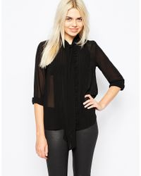 Monki | Black Scarf Neck Blouse | Lyst