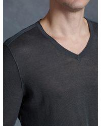 John Varvatos - Gray Linen V-neck for Men - Lyst