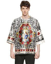 Dolce & Gabbana Multicolor Oversized Madonna Silk Mikado T-Shirt for men