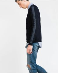 Zara | Blue Contrast Fabric Sleeves Sweater for Men | Lyst