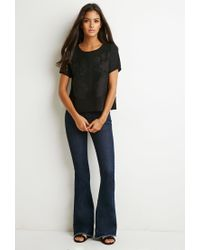 Forever 21 | Black Zip-back Embroidered Top | Lyst