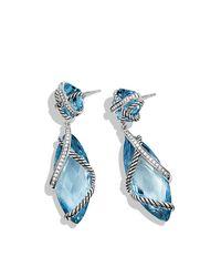 David Yurman - Blue Cable Wrap Double-drop Earrings - Lyst