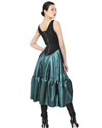 Antonio Berardi Green Woven Cotton Jersey & Lurex Dress