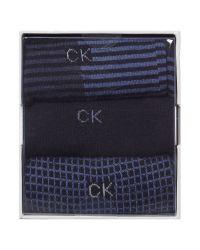 Calvin Klein | Blue Ck 3 Pack Stripe Sock Set for Men | Lyst