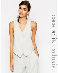 ASOS | Gray Petite Co-ord Luxe Tux Waistcoat | Lyst
