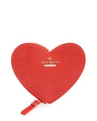 kate spade new york | Red 'heart' Leather Coin Purse | Lyst