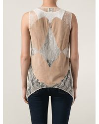 Haute Hippie - Brown Lace and Suede Vest - Lyst
