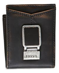 Fossil - Black Carson Id Bifold Wallet for Men - Lyst