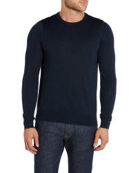 Michael Kors - Blue Regular Fit Tipped Crew Neck Wool Jumper for Men - Lyst