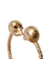 Alexander McQueen   Metallic Twin Skull Bracelet in Old Gold Burgundy   Lyst