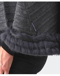 Armani Jeans | Gray Fur Trim Poncho | Lyst