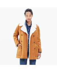 Madewell - Brown Shearling Car Coat - Lyst
