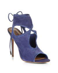 Aquazzura - Blue Sexy Thing Suede Peep-toe Sandals - Lyst