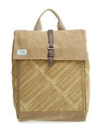 TOMS Green 'trekker' Waxed Canvas Backpack