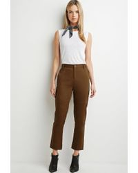 Forever 21 | Brown Contemporary Tonal Topstitch Utility Pants | Lyst