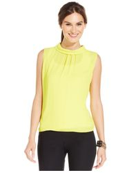 Vince Camuto | Yellow Sleeveless Collared Blouse | Lyst