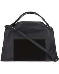 Sandro | Black Zipped Medium Leather Tote Bag | Lyst