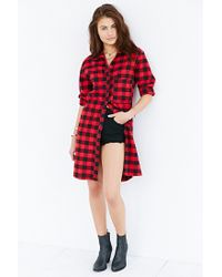 BDG - Red Long-line Plaid Button-down Shirt - Lyst