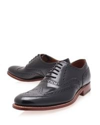 Foot The Coacher Black Dylan Wingtip Leather Oxford Brogues for men