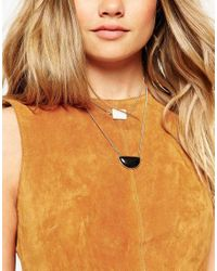 ASOS | Metallic Mono Stones Multirow Necklace | Lyst