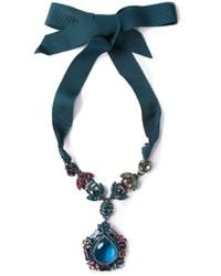 Lanvin - Blue Drop Pendant Necklace - Lyst
