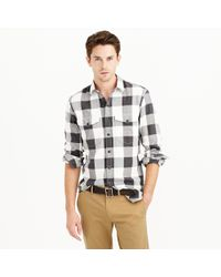 J.Crew | Black Herringbone Flannel Shirt In Buffalo Check for Men | Lyst