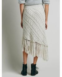 Free People Natural Womens On A Diagonal Fringe Skirt