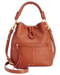 Sanctuary - Brown Leather Drawstring Small Bucket Bag - Lyst