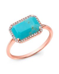 Anne Sisteron | Blue 14kt Rose Gold Turquoise Diamond Chic Ring | Lyst