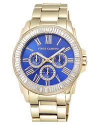 Vince Camuto Metallic Crystal Bezel Multifunction Bracelet Watch