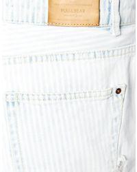 Pull&Bear Blue Stripe Rip And Repair Short