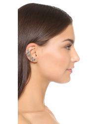 Oscar de la Renta | Black Crystal Leaf Asymmetrical Earring Set | Lyst